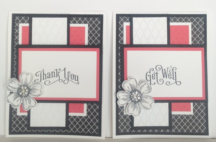 Colors: basic black & Calypso Coral Stamps: Flower Shop  & Perfectly Penned