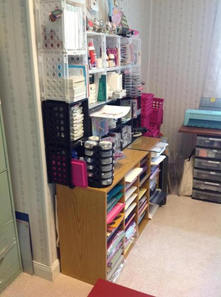 Paper overflow, and cubes.  (I have some pink cubes at the end that need to be put up.)